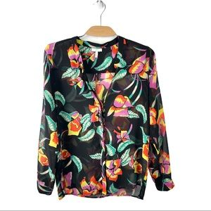 Joie Black Semi Sheer Floral Silk Blouse- Medium